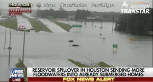 Screenshot from FoxNews coverage of the flooding in greater Houston Tuesday.